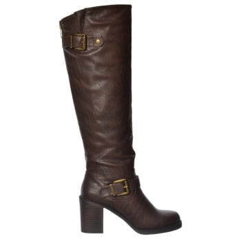 Rocket Dog Shayna Tall Knee High Wide Calf Boot - Black Brown