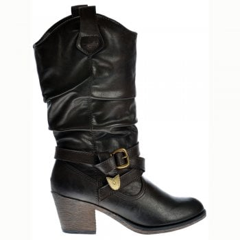 Rocket Dog SideStep Slick PU Cowboy Western Boots - Espresso Brown