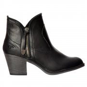 Sidney Bromley Western Block Heel Ankle Boot - Black, Brown, Whiskey