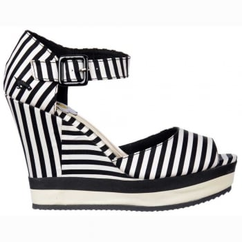 Rocket Dog Spirit Lucky Stripe - Platform Sandal - Black and White Stripe