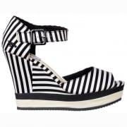 Spirit Lucky Stripe - Platform Sandal - Black and White Stripe