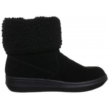 Rocket Dog Sugarmint Fleece Lined Warm Ankle Winter Boot - Black Suede