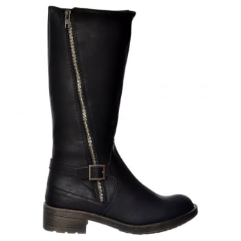 Rocket Dog Tanker Knee High Biker Boot -  Black, Brown