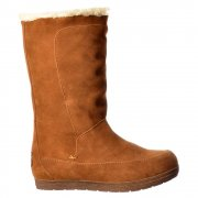 Terri Calf High Suede Winter Boot - Warm Fleeced Lining - Black, Chestnut