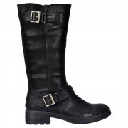 Terry Vintage Worn / Bromley Flat Mid Calf High Biker Boots - Brown, Black Vintage or Bromley