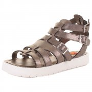 Thana Gladiator Cleated Sole Buckled Sandal - Pewter, Black