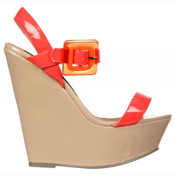 Shoekandi 70's Style Wedge - Square Buckled Sandal - Black/Nude, Raspberry/Nude, Pink/Orange