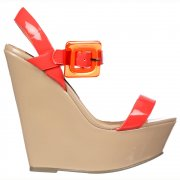 70's Style Wedge - Square Buckled Sandal - Black/Nude, Raspberry/Nude, Pink/Orange