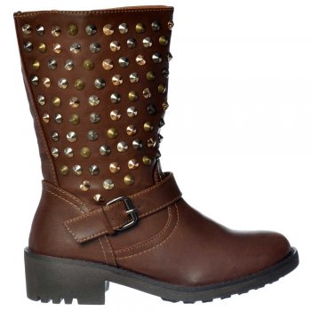 Ankle Boots Biker - Gold Silver Chrome Studs - Tan