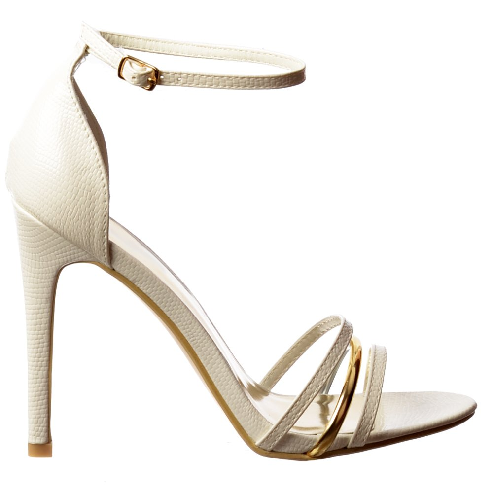 Black party sandals - Shoekandi Ankle Strap Mid Heels Party Sandals Gold Detail Black Lizard White Lizard