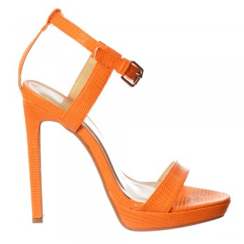 Shoekandi Ankle Strap Party Stiletto Sandals - Lizard or Patent - White Lizard, Orange Lizard, Nude Patent