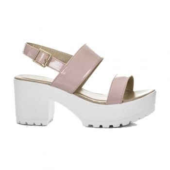 Shoekandi Ankle Wrap Cleated Sole Block Heel Sandals - Black PU, White PU, Nude Patent