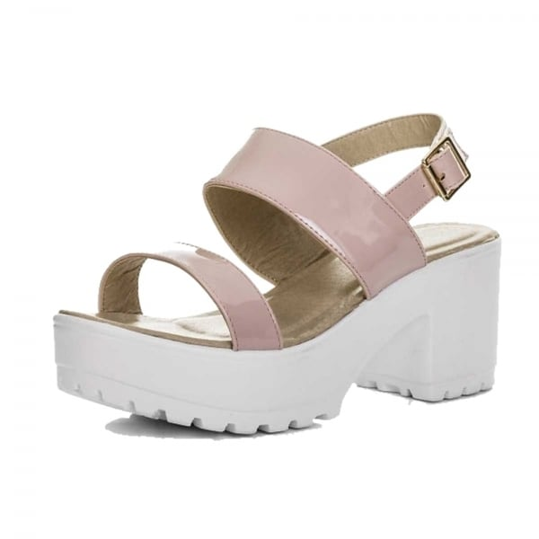 Onlineshoe Lace Up Ankle Strap Cleated Sole Block Heel Sandals