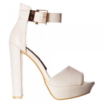 Shoekandi Belle Platform Peep Toe Block High Heels - Ankle Strap - Black Suede, White PU
