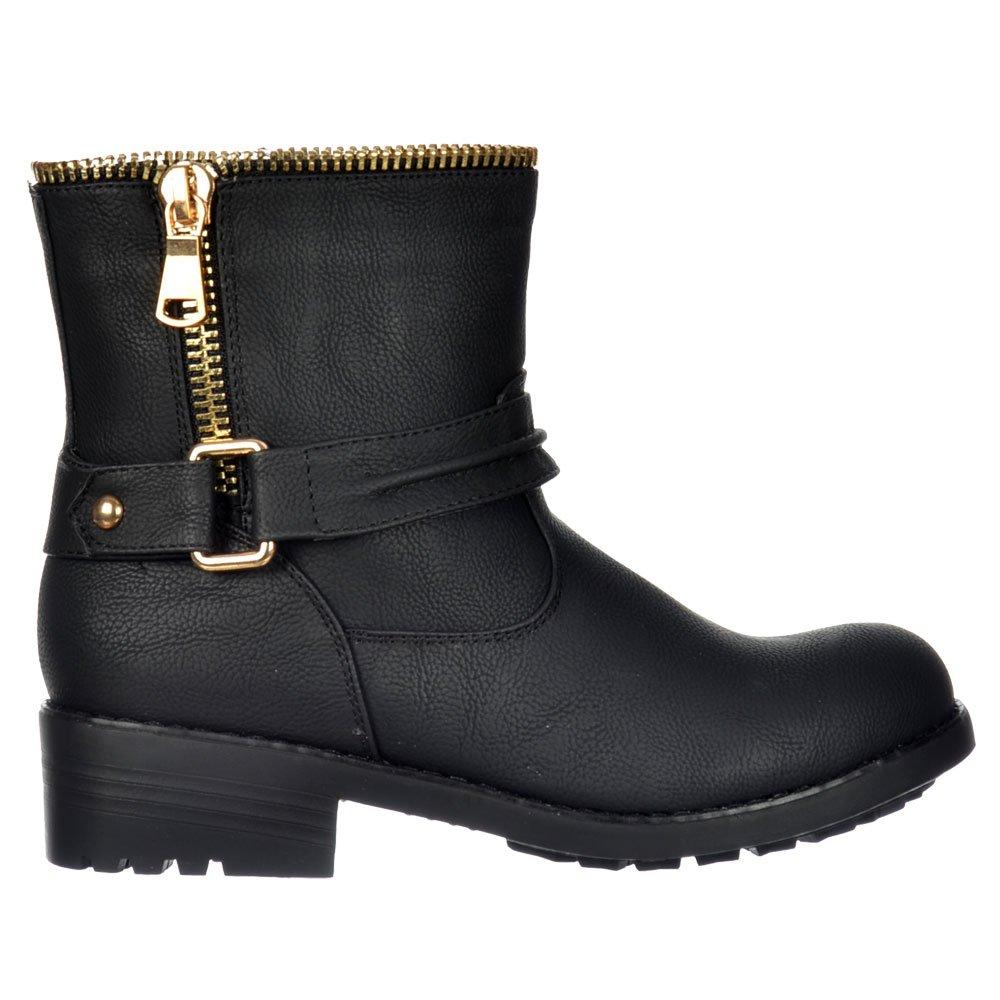 Shoekandi Biker Ankle Boot Bzip Feature Gold Zip And