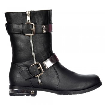 Shoekandi Biker Ankle Boot - Chrome Metal Heel and Trim - Black