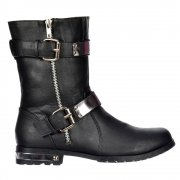 Biker Ankle Boot - Chrome Metal Heel and Trim - Black