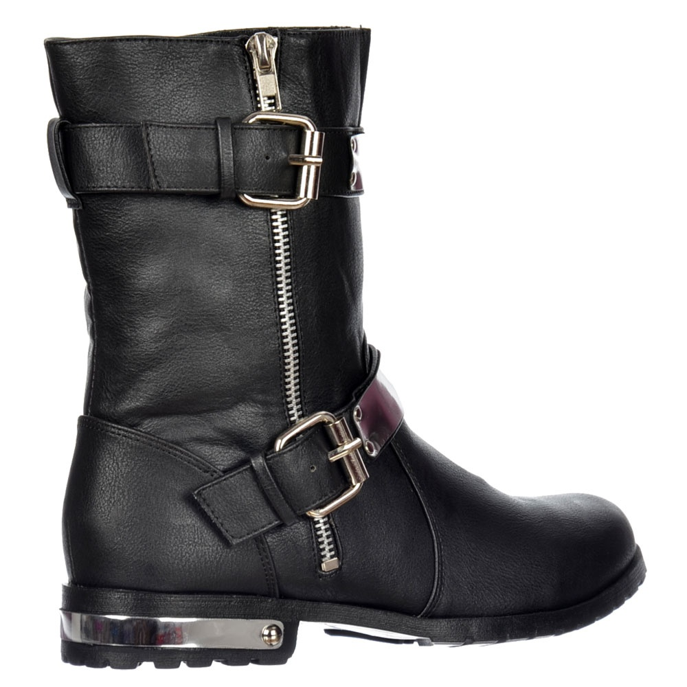 shoekandi biker ankle boot chrome metal heel and trim