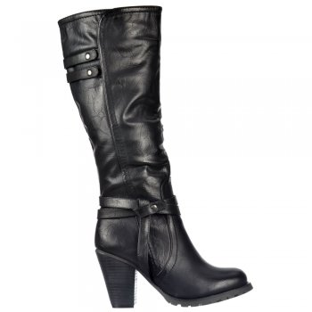 Shoekandi Biker Knee High Boots With Quilted Effect - Black, Brown ,Tan