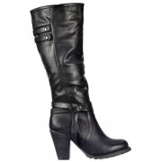 Biker Knee High Boots With Quilted Effect - Black, Brown ,Tan