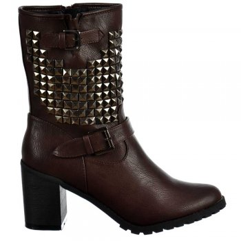 Shoekandi Biker Military Studded Block Heel Ankle Boots - Brown