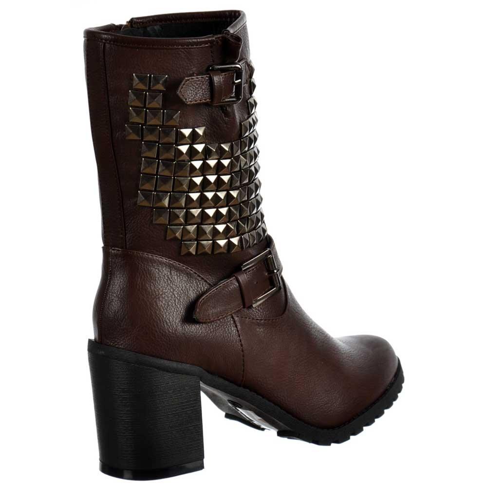 Shoekandi Biker Military Studded Block Heel Ankle Boots