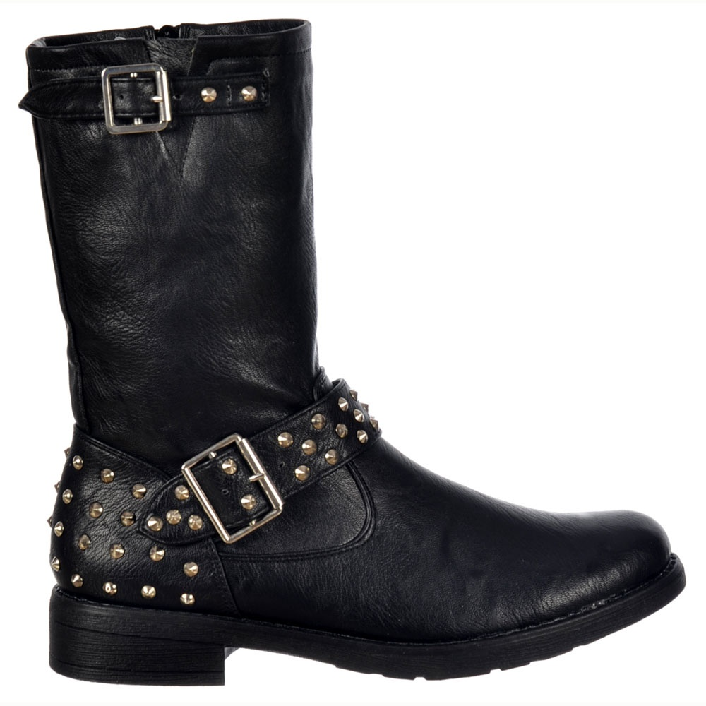 shoekandi biker studded ankle boot black studded heel