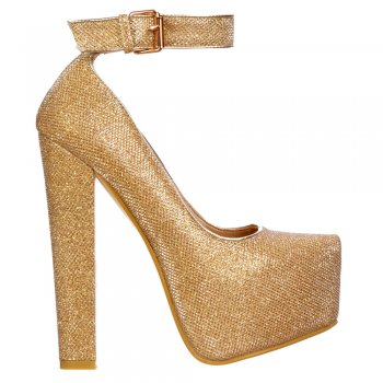 Shoekandi Block Glitter High Heel - Ankle Strap With Buckle - Silver Glitter, Gold Glitter