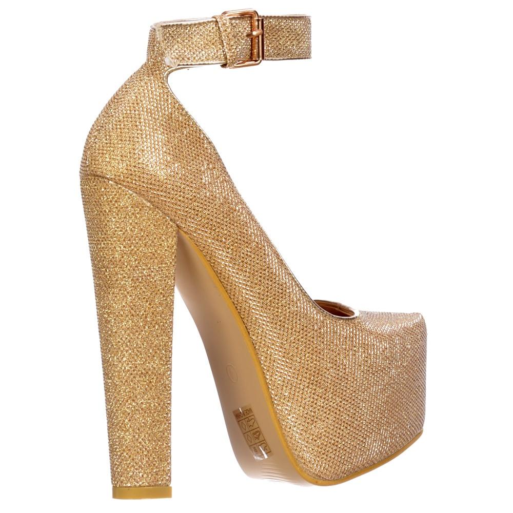 Gold Glitter High Heels - Is Heel