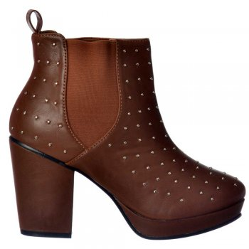 Shoekandi Block Heel Studded Chelsea Ankle Boots - Tan