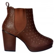 Block Heel Studded Chelsea Ankle Boots - Tan