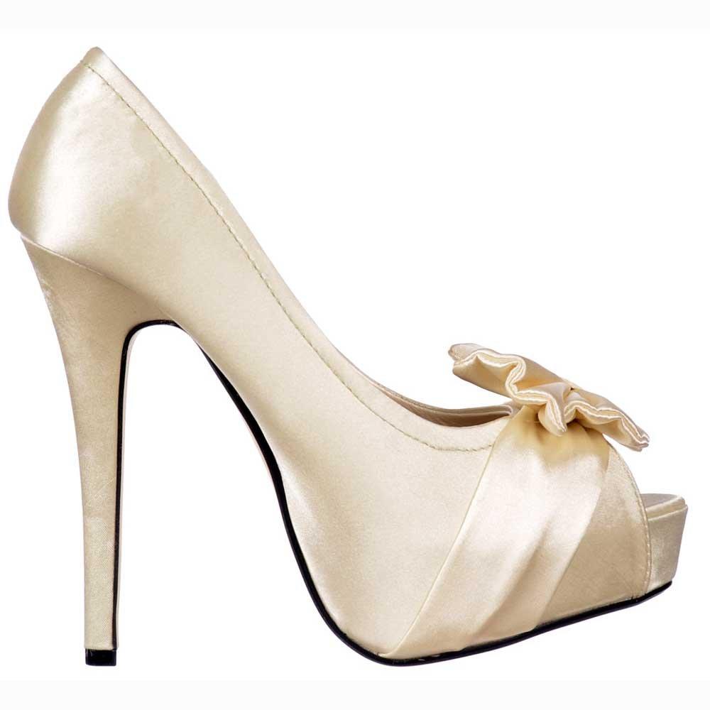Shoekandi Bridal Peep Toe Wedding Shoes - Satin Bow - Ivory Satin ... d192f6203