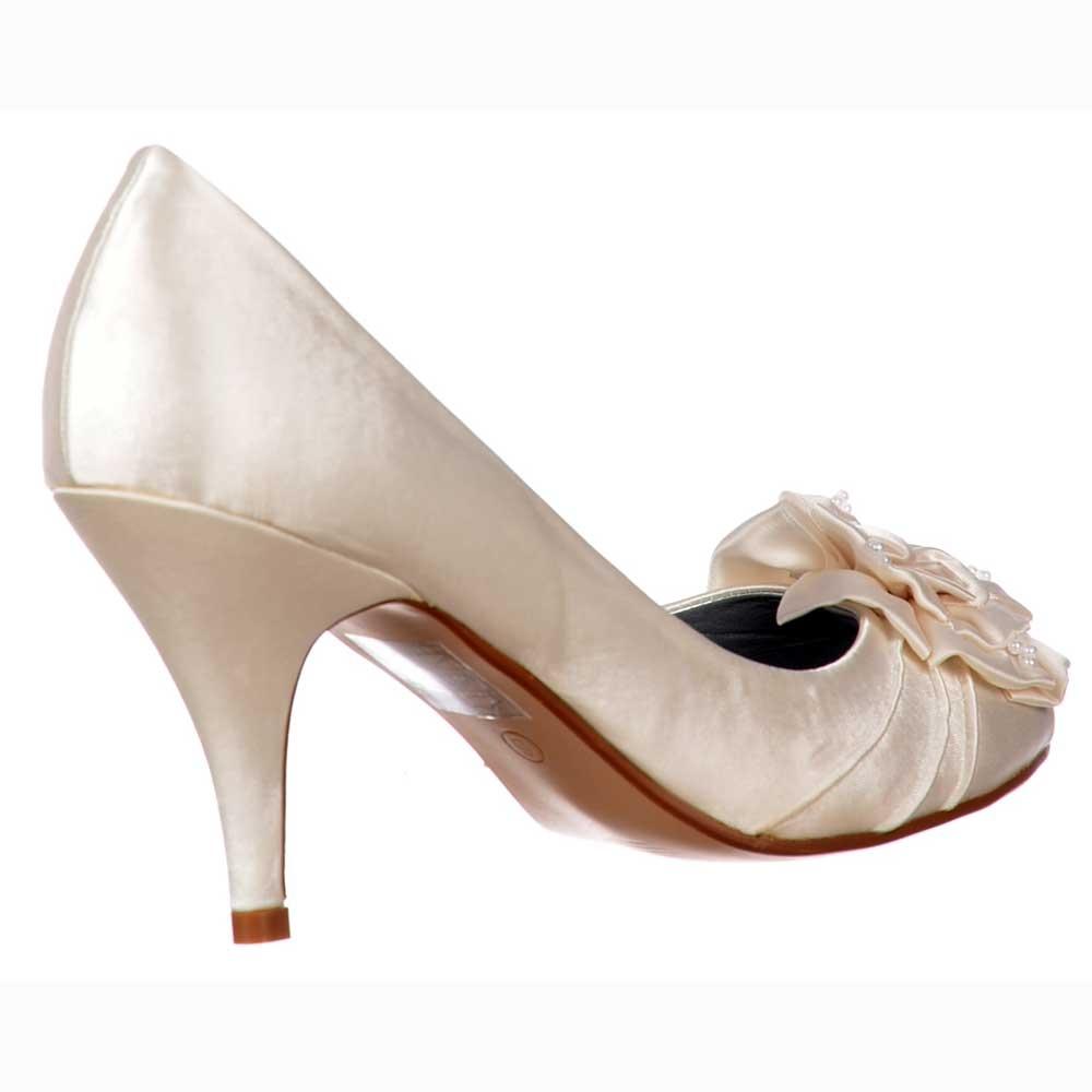 Shoekandi Bridal Wedding Low Kitten Heel Shoes