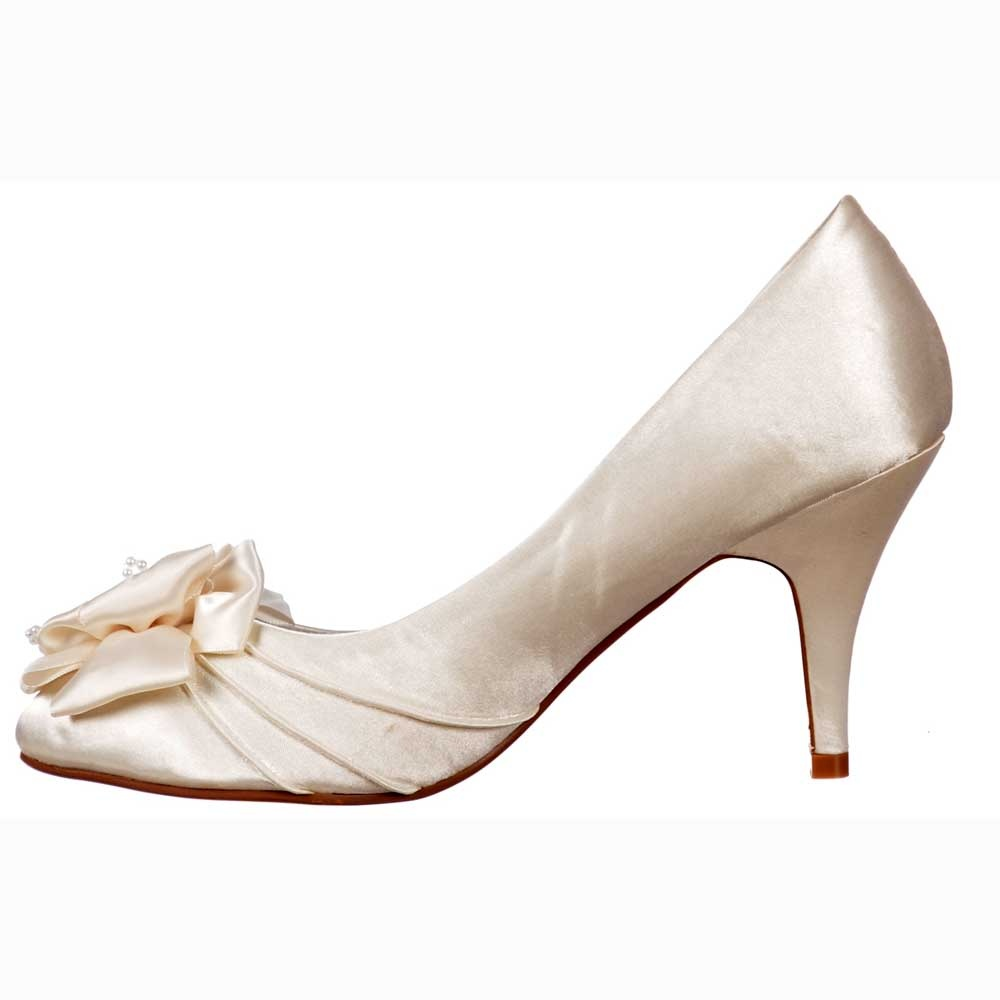 Shoekandi Bridal Wedding Low Kitten Heel Shoes