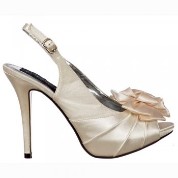 Shoekandi Bridal Wedding Shoes Peep Toe - Slingback With Flower - Ivory Satin