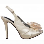 Bridal Wedding Shoes Peep Toe - Slingback With Flower - Ivory Satin
