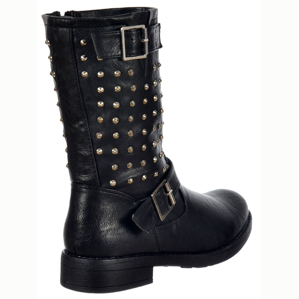 shoekandi buckled biker ankle boot studded black