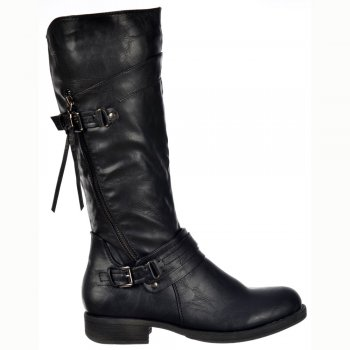 Shoekandi Buckled Biker Boots With Straps and Zip Feature - Black