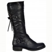 Buckled Biker Boots With Straps and Zip Feature - Black