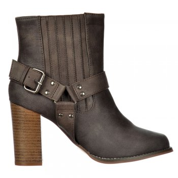 Shoekandi Chelsea Ankle Boot - Buckles Straps Block Cuban Heel - Brown, Black