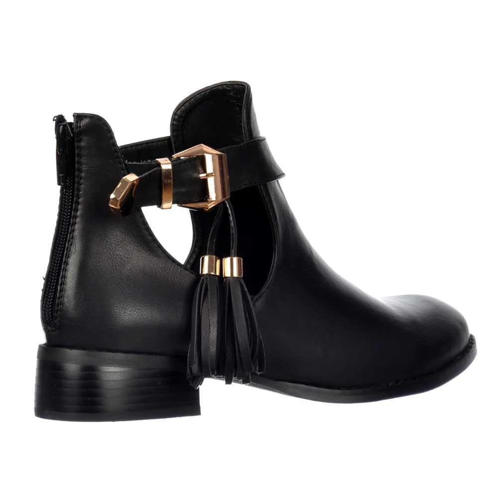 shoekandi chelsea ankle boot cut out sides gold buckles