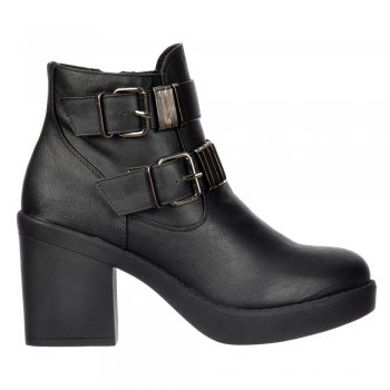 Shoekandi Chelsea Ankle Boot - Double Buckle Block Heel - Black