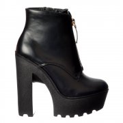 Chunky Cleated Sole Platform High Heel Ankle Boot - Zips  - Black PU