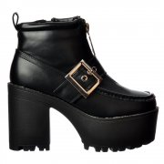 Chunky Cleated Sole Platform Mid Heel Ankle Boot - Zip and Buckle - Black PU