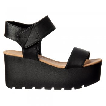 Shoekandi Chunky Cleated Sole Platform Summer Wedge Sandal - Black, White