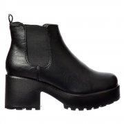 Classic Chelsea Boot - Cleated Sole Elasticated Sides - Black