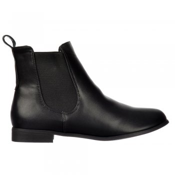 Shoekandi Classic Chelsea Flat Ankle Boot - Choice of Finishes Elasticated Sides - Black, Brown