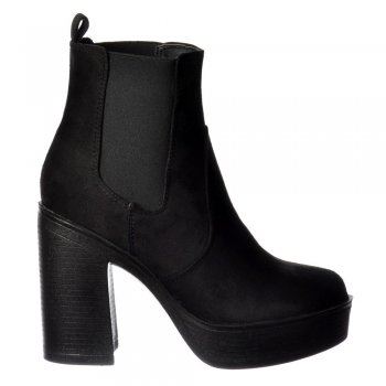 Shoekandi Classic High Heeled Chelsea Platform Ankle Boots - Stitched Detail - Black Suede