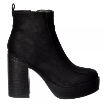 Shoekandi Classic High Heeled Platform Ankle Boots - Stitched Detail - Black Suede