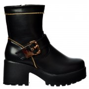 Cleated Sole Biker Platform Mid Heel Ankle Boot - Zip and Buckle - Black PU